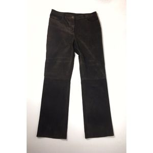 DKNY Brown Suede Leather Pants Like New Size 10